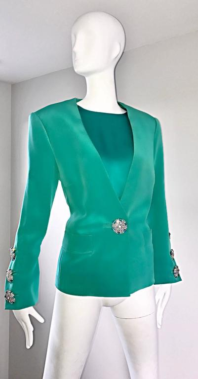 Vintage Yves Saint Laurent Haute Couture Kelly Green Silk Jacket and Shell Set 8