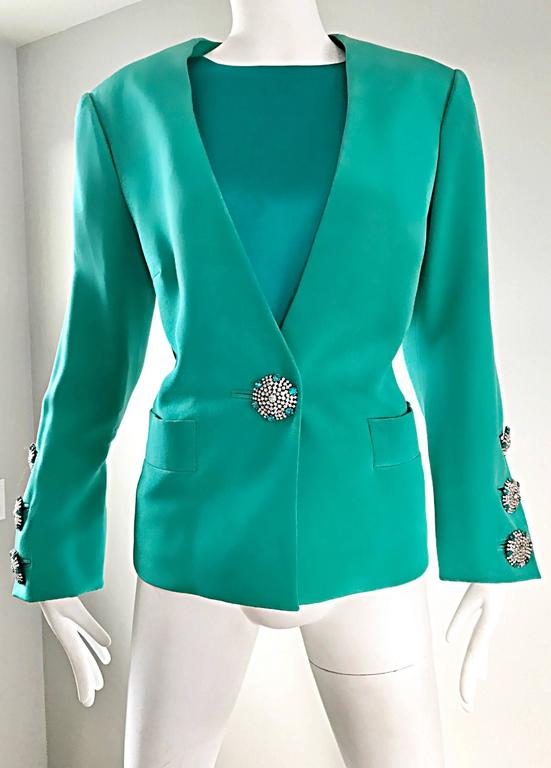 Vintage Yves Saint Laurent Haute Couture Kelly Green Silk Jacket and Shell Set 9