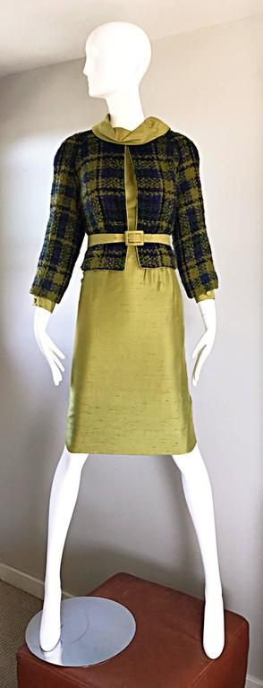 Chic Jackie O style vintage I MAGNIN chartreuse green raw silk three piece dress set! Features a long sleeve silk shantung shift dress. High collar, with button cuffs at sleeves. Elastic waistband can accomodate a variety of sizes. Blue and