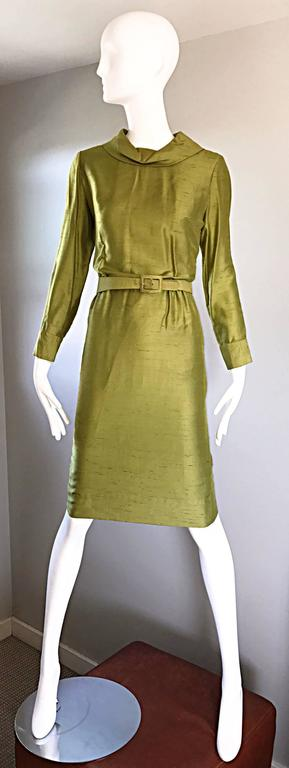 Women's 1960s I Magnin Chartreuse Green Silk Shantung 3 Piece Dress and Jacket Ensemble For Sale