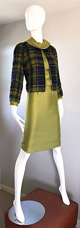 1960s I Magnin Chartreuse Green Silk Shantung 3 Piece Dress and Jacket Ensemble For Sale 1