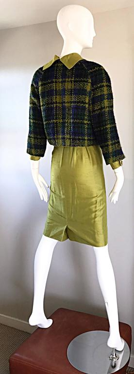 1960s I Magnin Chartreuse Green Silk Shantung 3 Piece Dress and Jacket Ensemble For Sale 2