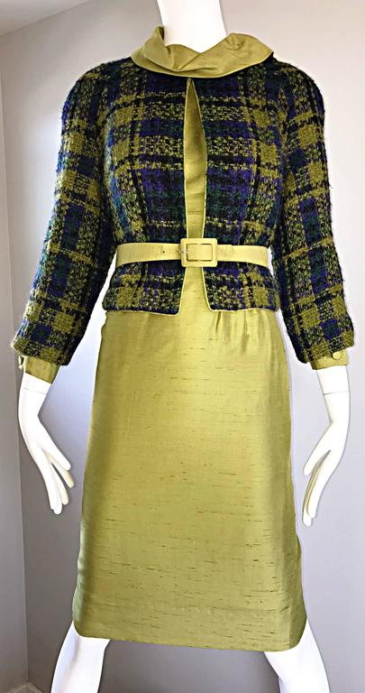 1960s I Magnin Chartreuse Green Silk Shantung 3 Piece Dress and Jacket Ensemble For Sale 3