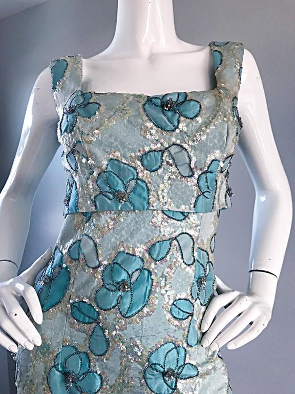 Blue Beautiful 1960s Bain's Demi Couture Vintage 60s Turquoise Silk Evening Gown  For Sale