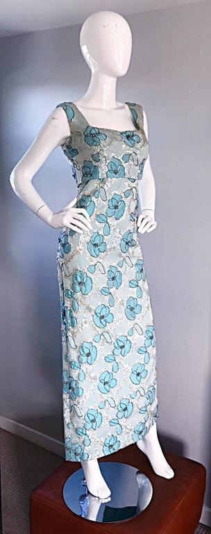 Beautiful 1960s Bain's Demi Couture Vintage 60s Turquoise Silk Evening Gown  In Excellent Condition For Sale In Chicago, IL