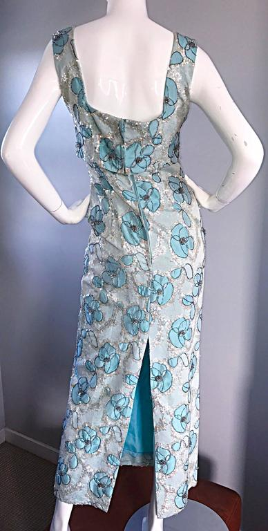 Women's Beautiful 1960s Bain's Demi Couture Vintage 60s Turquoise Silk Evening Gown  For Sale