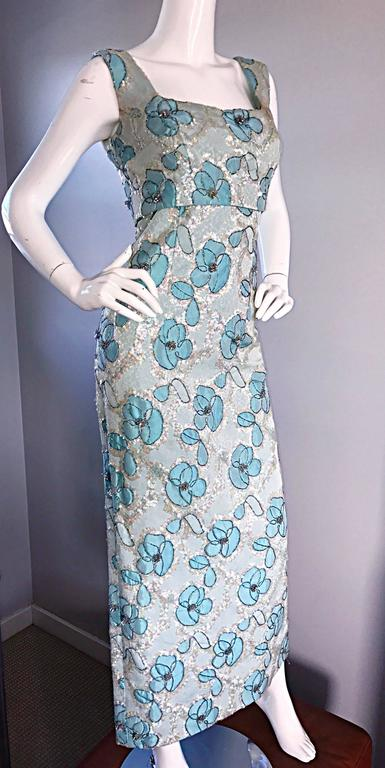 Beautiful 1960s Bain's Demi Couture Vintage 60s Turquoise Silk Evening Gown  For Sale 2
