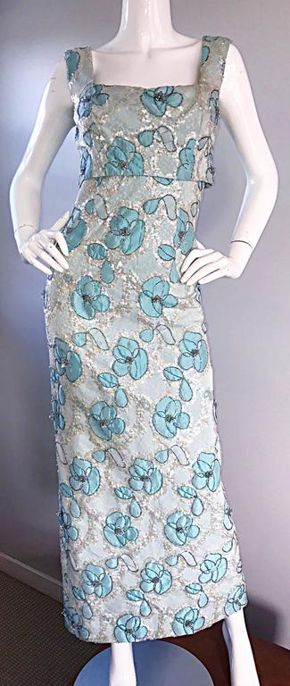 Beautiful 1960s Bain's Demi Couture Vintage 60s Turquoise Silk Evening Gown  For Sale 1