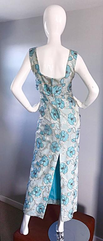 Beautiful 1960s Bain's Demi Couture Vintage 60s Turquoise Silk Evening Gown  For Sale 3