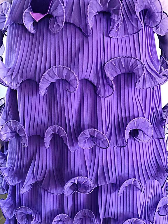 Women's Chic 1970s ELLIETTE LEWIS Lavender Purple Chiffon Long Sleeve Regal Maxi Dress For Sale
