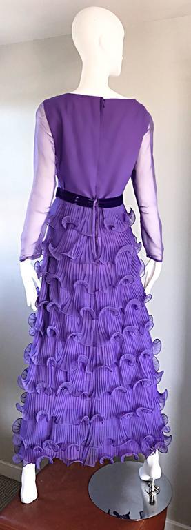Chic 1970s ELLIETTE LEWIS Lavender Purple Chiffon Long Sleeve Regal Maxi Dress For Sale 1