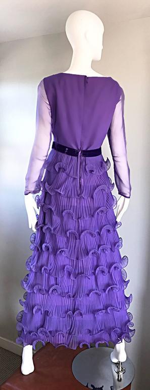 Chic 1970s ELLIETTE LEWIS Lavender Purple Chiffon Long Sleeve Regal Maxi Dress For Sale 4