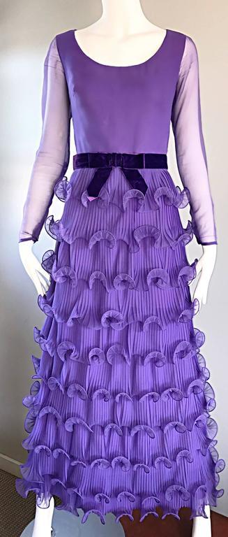 Chic 1970s ELLIETTE LEWIS Lavender Purple Chiffon Long Sleeve Regal Maxi Dress For Sale 5