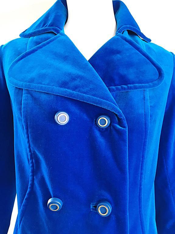 1960s Surrey Classics Cerulean Royal Blue Velvet Double Breasted Jacket Coat  3