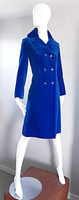 1960s Surrey Classics Cerulean Royal Blue Velvet Double Breasted Jacket Coat  5