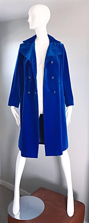1960s Surrey Classics Cerulean Royal Blue Velvet Double Breasted Jacket Coat  6