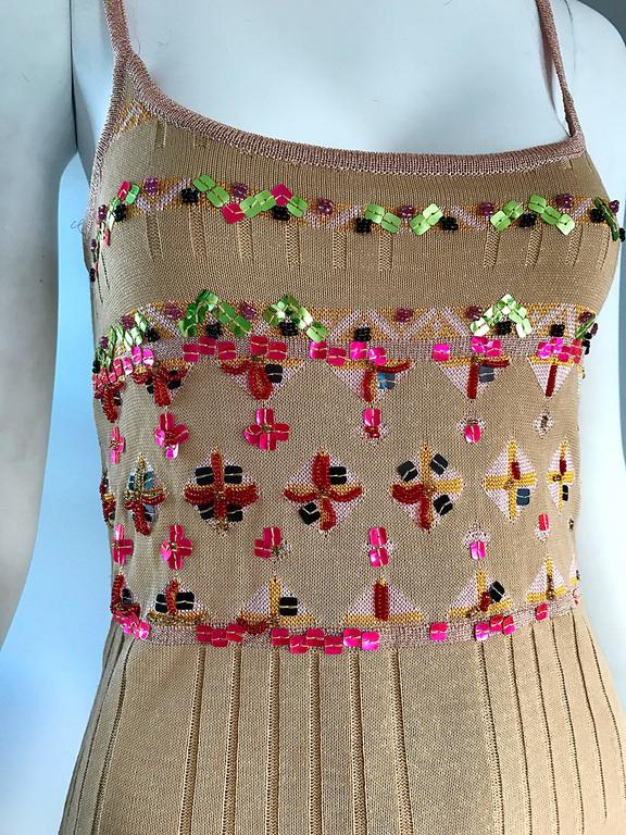 Brown 1990s Christian Lacroix Gold Sequined Metallic Sleeveless Sweater Vintage Top For Sale