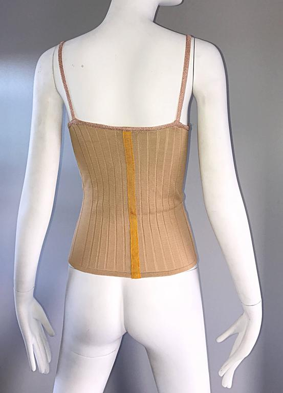 1990s Christian Lacroix Gold Sequined Metallic Sleeveless Sweater Vintage Top For Sale 2