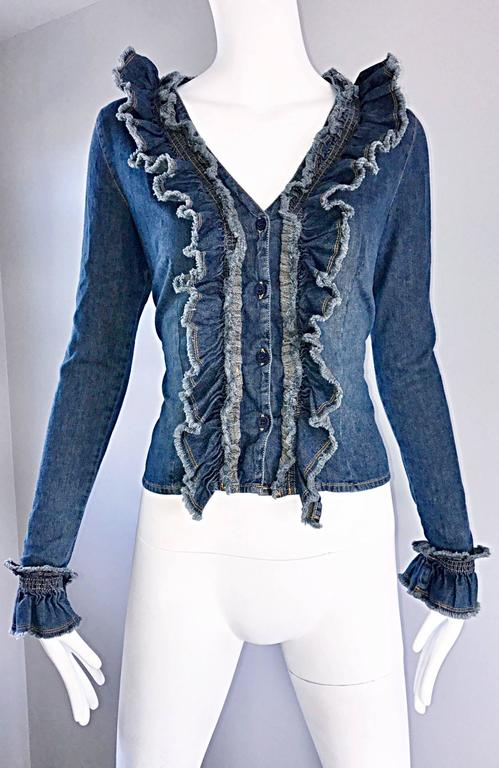 Fabulous 1990s Moschino Vintage Blue Jean Denim 90s Ruffle Shirt Jacket Size 10  In Excellent Condition For Sale In San Francisco, CA