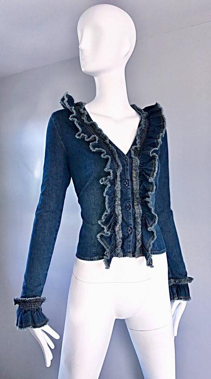 Women's Fabulous 1990s Moschino Vintage Blue Jean Denim 90s Ruffle Shirt Jacket Size 10  For Sale