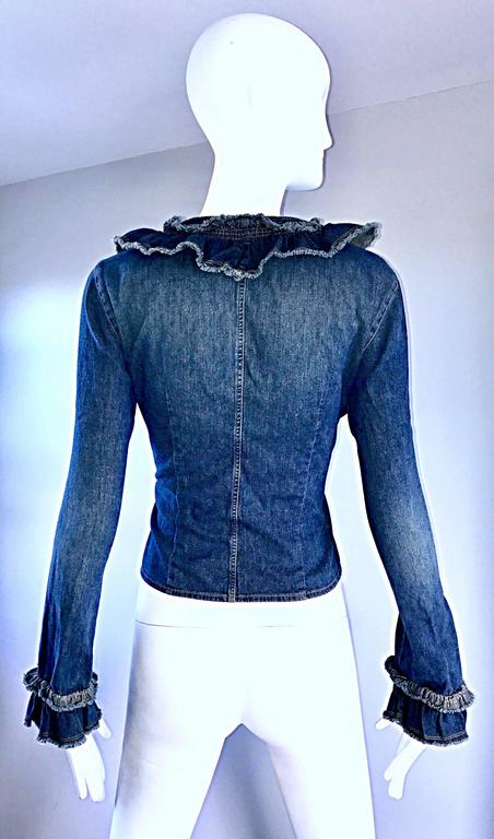 Fabulous 1990s Moschino Vintage Blue Jean Denim 90s Ruffle Shirt Jacket Size 10  For Sale 1