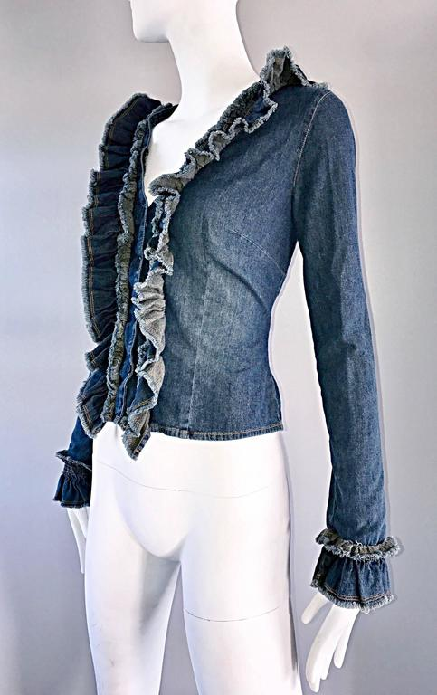 Fabulous 1990s Moschino Vintage Blue Jean Denim 90s Ruffle Shirt Jacket Size 10  For Sale 3