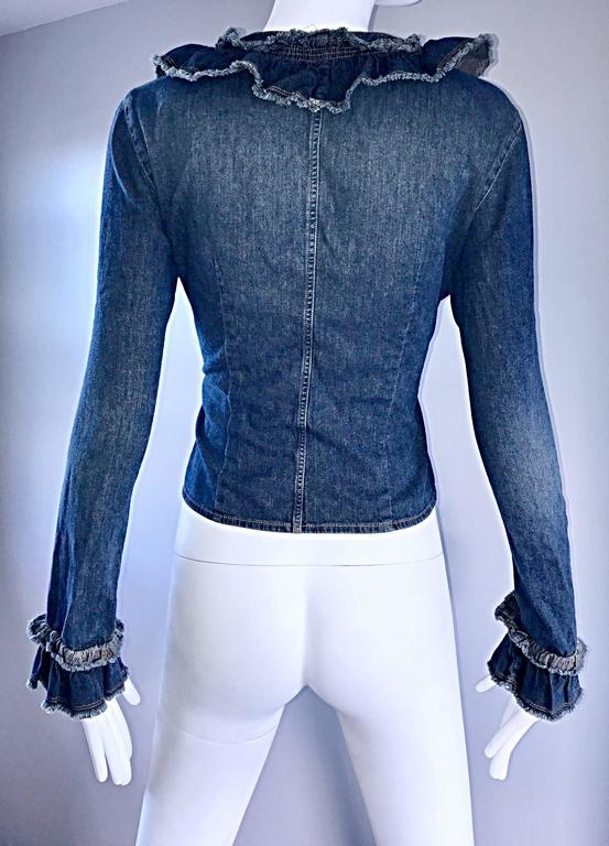 Fabulous 1990s Moschino Vintage Blue Jean Denim 90s Ruffle Shirt Jacket Size 10  For Sale 4