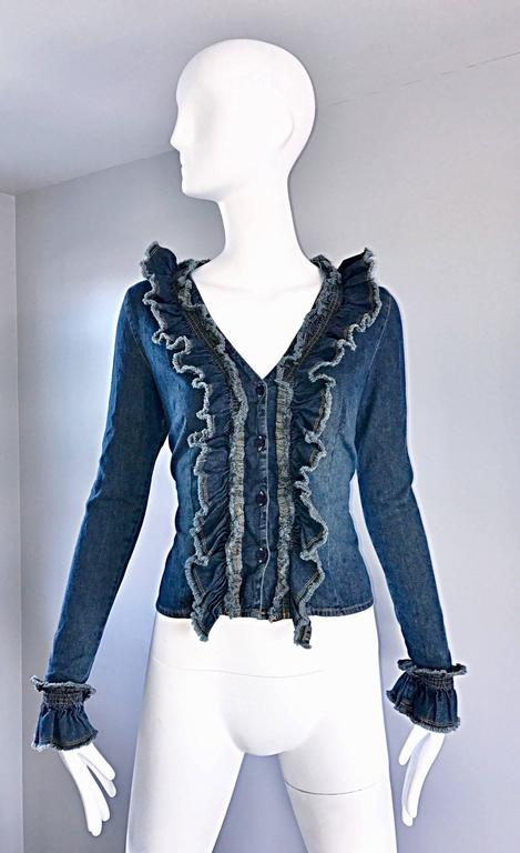 Fabulous 1990s Moschino Vintage Blue Jean Denim 90s Ruffle Shirt Jacket Size 10  For Sale 5