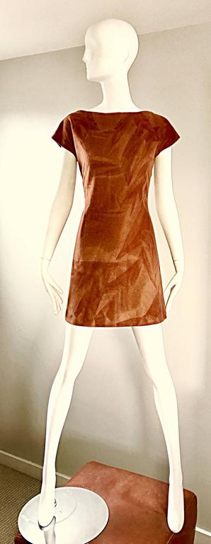 Rare 1960s Karl Lagerfeld For Fendi Rust Brown Abstract