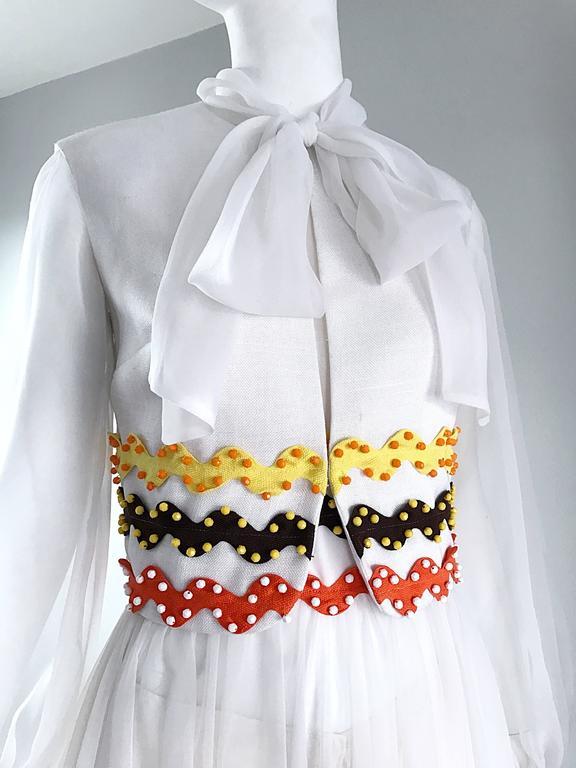 Gray Vintage Oscar de la Renta 1970s Rare 3 Piece White Jumpsuit w/ Pants and Vest  For Sale