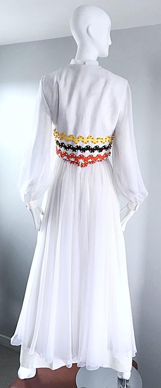 Vintage Oscar de la Renta 1970s Rare 3 Piece White Jumpsuit w/ Pants and Vest  In Excellent Condition For Sale In Chicago, IL