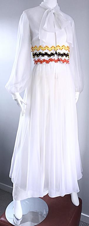 Vintage Oscar de la Renta 1970s Rare 3 Piece White Jumpsuit w/ Pants and Vest  For Sale 2