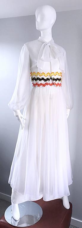 Women's Vintage Oscar de la Renta 1970s Rare 3 Piece White Jumpsuit w/ Pants and Vest  For Sale