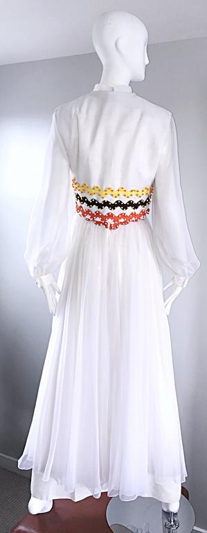 Vintage Oscar de la Renta 1970s Rare 3 Piece White Jumpsuit w/ Pants and Vest  For Sale 3