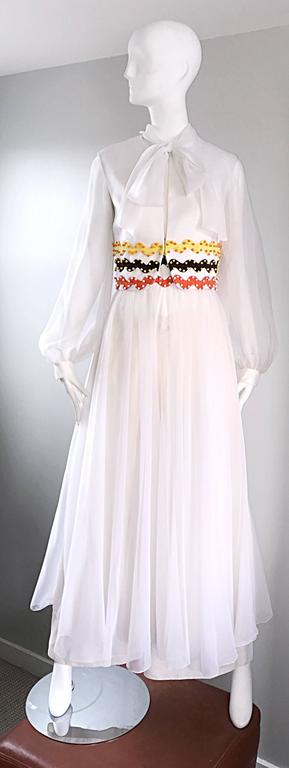 Vintage Oscar de la Renta 1970s Rare 3 Piece White Jumpsuit w/ Pants and Vest  For Sale 5