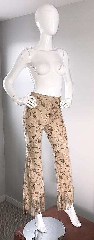 Beige Amazing Vintage Escade Suede Leather Hand Painted Fringe 90s Flare Leg Pants 38 For Sale