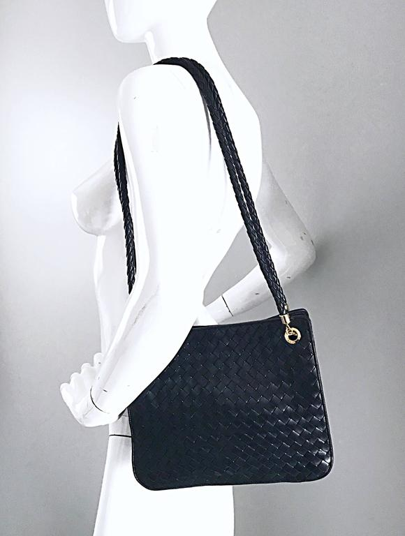9fd58e5818b5 Bottega Veneta Vintage Classic Black Woven Napa Leather Shoulder Bag Purse  Tote For Sale 6