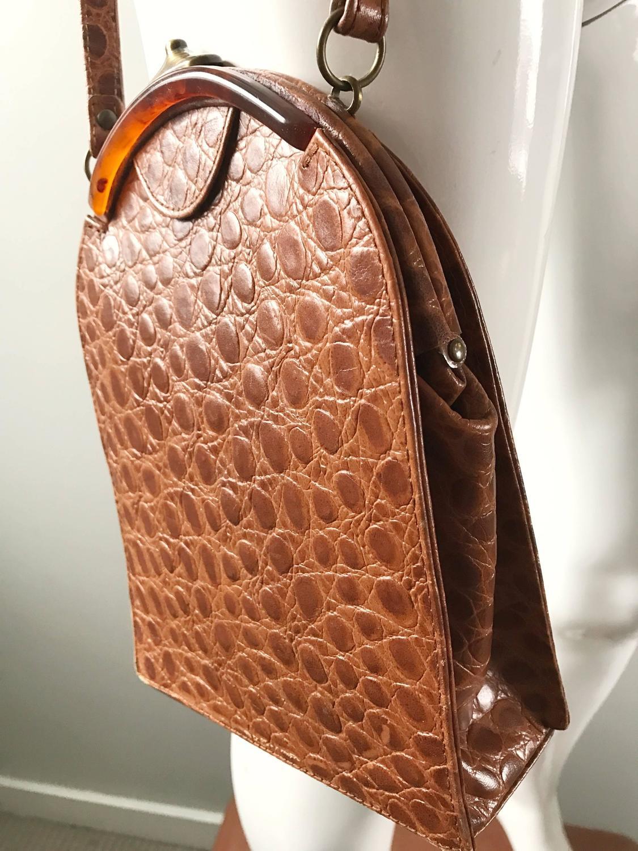 Vintage Jill Stuart Crocodile Embossed Leather Tan Brown