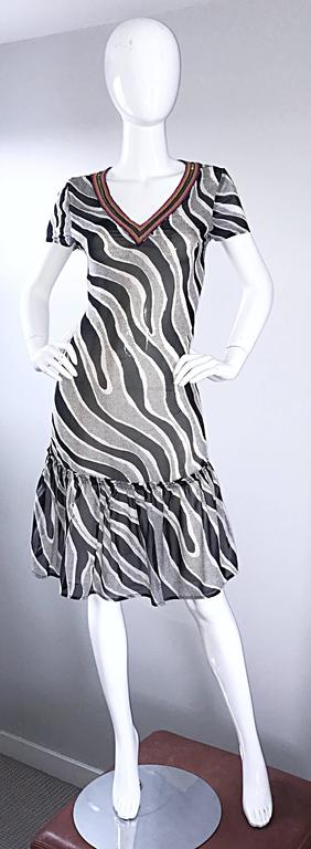 MOSCHINO Cheap & Chic 1990s Vintage Black and White Chiffon Beaded 90s Dress In Excellent Condition For Sale In Chicago, IL