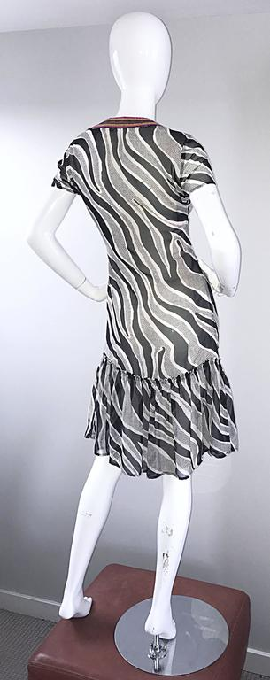 Women's MOSCHINO Cheap & Chic 1990s Vintage Black and White Chiffon Beaded 90s Dress For Sale