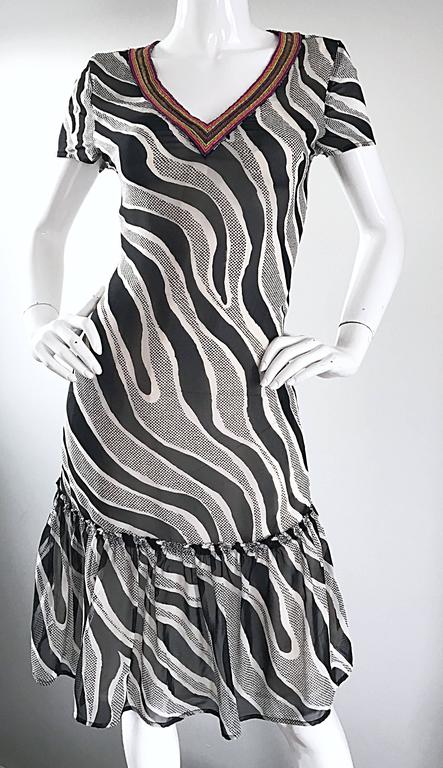 MOSCHINO Cheap & Chic 1990s Vintage Black and White Chiffon Beaded 90s Dress For Sale 1