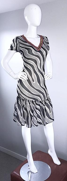 MOSCHINO Cheap & Chic 1990s Vintage Black and White Chiffon Beaded 90s Dress For Sale 2