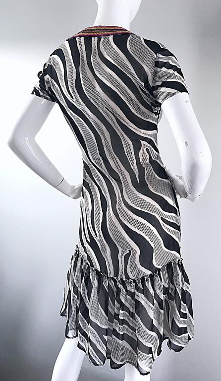 MOSCHINO Cheap & Chic 1990s Vintage Black and White Chiffon Beaded 90s Dress For Sale 3