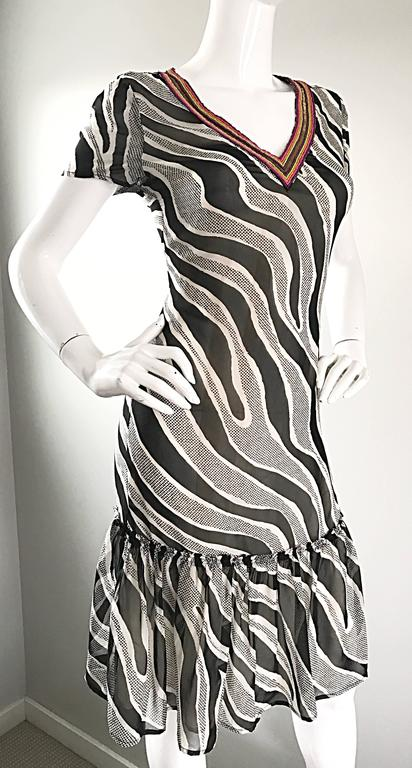 MOSCHINO Cheap & Chic 1990s Vintage Black and White Chiffon Beaded 90s Dress For Sale 4