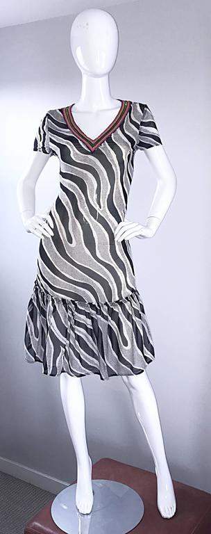 MOSCHINO Cheap & Chic 1990s Vintage Black and White Chiffon Beaded 90s Dress For Sale 5