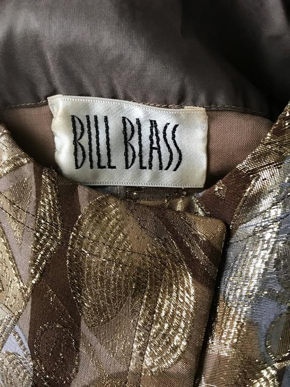 Bill Blass 1960s Vintage Silk Metallic 60s Mink Trimmed Dress Jacket Swing Coat  For Sale 5