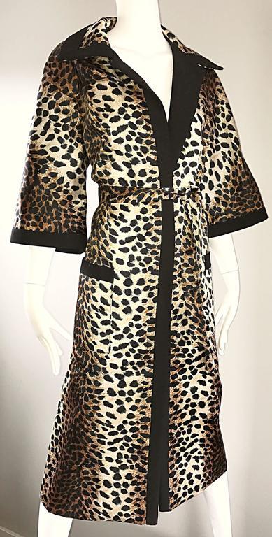 1960s Lilli Ann Leopard Cheetah Print Vintage Fabulous 60s Trench Jacket Coat  3