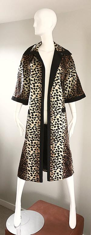1960s Lilli Ann Leopard Cheetah Print Vintage Fabulous 60s Trench Jacket Coat  5