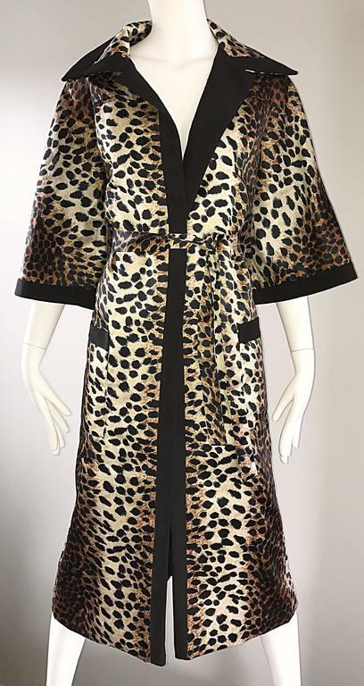 1960s Lilli Ann Leopard Cheetah Print Vintage Fabulous 60s Trench Jacket Coat  For Sale 2