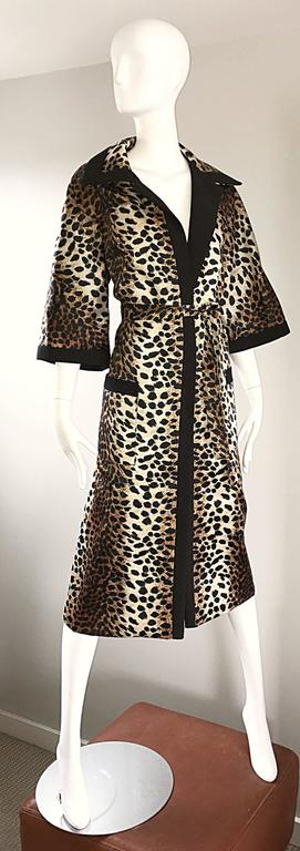 1960s Lilli Ann Leopard Cheetah Print Vintage Fabulous 60s Trench Jacket Coat  For Sale 1